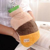 广州好极行暖手袋 冬季创意可爱拼色毛绒注水热水袋 保暖暖手袋