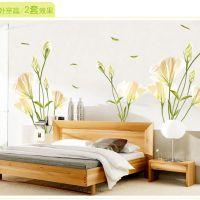 AY9152 新款外贸野百合花PVC透明膜墙贴客厅沙发电视背景墙贴贴纸