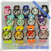 OEM外贸速卖通EBAY欧美热销手表 三眼帯历硅胶带表 双色表盘手表