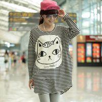 809#秋装女装胖MM大码女装纯棉长袖印花T恤打底衫大脸条纹猫