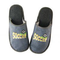特价足球新款家居保暖拖鞋 冬季居家毛绒棉拖 橡胶耐磨底布艺拖鞋