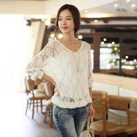 2013 韩版秋装新款V领蝙蝠长袖宽松大码镂空针织衫毛衣外套