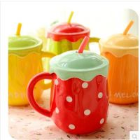 默默爱水果大肚陶瓷马克杯 创意情侣咖啡杯 可爱个性水杯子带盖勺