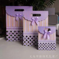 大号浅紫色手提纸袋 翻盖礼品袋 粘扣喜糖袋 服装礼袋 现货批发