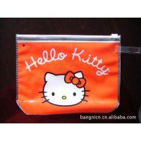 供应透明PVC拉链袋子 卡通图案KITTY猫文具包装笔袋