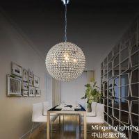 供应铭星铁艺水晶圆球吊灯 餐厅灯 现代简约客厅灯卧室灯具吧台灯饰