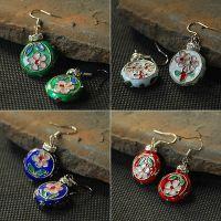 波西米亚民族风手工饰品 天然绿松石串珠葡萄耳环长款