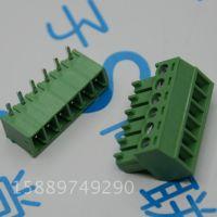 绿色接线端子6p弯针 3.81mm间距 公母对插插拔式 15EDG-6P弯脚