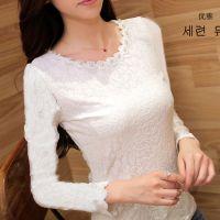服装2014秋冬女装韩版修身加绒加厚蕾丝衫蕾丝圆领长袖短款打底衫