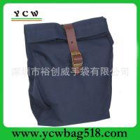 龙岗手袋厂 生产定做 打蜡帆布袋 实用 工具袋 真皮扣带 帆布包