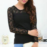 2014秋季新款 韩国镂空长袖大码款蕾丝衫女修身显瘦黑白色打底衫
