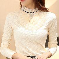 秋冬新款长袖加绒加厚蕾丝打底衫长款韩版t恤衣服女装上衣潮