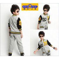 童套装 2014男童秋款套装新款 纯棉刺绣棒球服运动休闲两件套