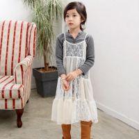 D 韩国童装女童T恤春装2015新款百搭蕾丝开扣儿童长袖打底衫