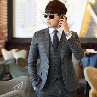男士西服套装定做休闲西装三件套韩版修身订做