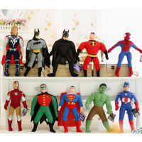 正版蜘蛛侠蝙蝠侠超人总动员 正义复仇者联盟毛绒玩具公仔