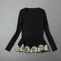 欧洲站高端品牌秋季新款女装拼接立体绣花长袖针织打底衫上衣9459