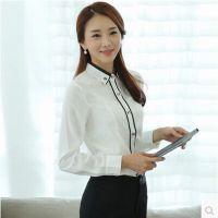 2014秋季新款时尚通勤修身OL职业装打底衫 女式纯棉长袖衬衫 女
