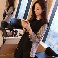 9219#秋装新款衬衫女长袖假两件韩版拼接格子上衣衬衣打底衫T恤潮