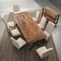 实木餐桌椅组合小户型餐桌长方形饭桌复古方桌铁艺餐桌椅厂家直销
