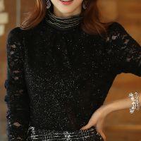 # 2014秋冬装新款韩版大码修身加绒加厚高领长袖蕾丝打底衫女
