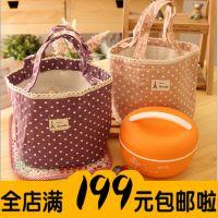 可爱甜美波点棉麻帆布便当包 饭盒袋小拎包韩国可爱保温袋午餐包