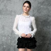 2014新款秋装镂空立领打底衫玫瑰花朵上衣长袖雪纺衫T恤5036