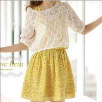 2014春装新款夏季碎花蕾丝钩花针织配背心裙两件套连衣裙