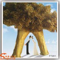 供应创意景观大型仿真工艺品 仿真树 金色婚庆大榕树
