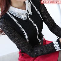 秋冬新款钉珠镶钻荷叶领蕾丝加绒打底衫