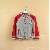 14年 秋装新款欧美 男童 儿童刺绣开衫卫衣外套棒球服童装批发