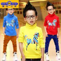 品质童装冬装新款 男童长袖T恤加绒儿童保暖打底衫韩版一件代发