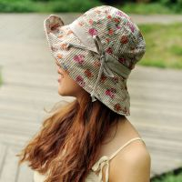 青岛帽子厂家生产定做女士碎花大沿帽夏季遮阳防晒帽潮流沙滩帽