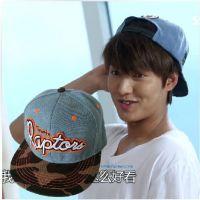 韩剧继承者们李敏镐 EXO同款 蓝色平沿嘻哈帽子 NBA热火棒球帽