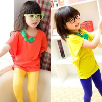 2014夏季新款童装 女童韩版蝙蝠衫短袖T恤 中小童蝴蝶结纯色T恤裙