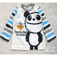 日本原单童T恤 小童熊猫图案长袖童T恤 有肩扣 秋款品牌男童T恤