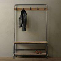 厂家直销美式铁艺仿锈复古门厅柜衣帽架换鞋凳落地衣帽架挂衣架