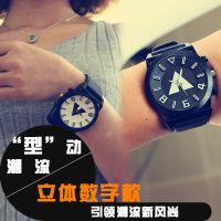 林弯弯潮流时尚exo原宿QF立体字百搭个性果冻男女情侣学生手表