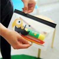 米光~韩国文具多用途胡子透明收纳小袋/文具袋B147拉边袋 笔袋