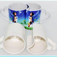派客定制 热转印变色情侣马克杯 爱心手柄陶瓷水杯 批发定制礼品