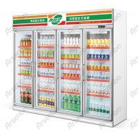 商用立式四门冷藏展示柜 啤酒冷藏柜 超市饮料冰箱价格