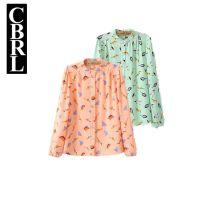 Y006秋装新款韩版修身显瘦加厚雪纺彩色小鸟印花长袖衬衫女打底衫
