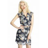 2014新款AS西装领职场无袖花朵连衣裙 印花雪纺短裙子女E10-886