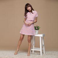 外贸原单夏季纯棉半袖连衣裙哺乳裙喂奶衣可爱日系孕妇睡裙新款