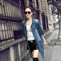 2015春季女装外套 韩版中长款牛仔外套女时尚中袖风衣新款牛仔女