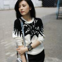 2014秋冬新款女装打底衫圆领长袖黑白拼接针织衫明星同款宽松毛衣