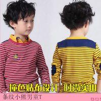 2014 秋款 男童条纹T恤 韩版小熊长袖打底衫 厂家直销 童装批发