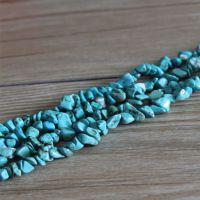 盛记宝石 5*9mm天然灌胶绿松石碎石散珠 圆珠 手链珠DIY饰品配件
