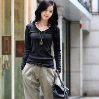 厂家供应大码女装2韩国t恤013秋装淘宝爆款时尚V领时尚大码打底衫