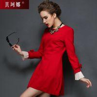 欧美大牌春 气质美裙小香风长袖修身红色秋冬连衣裙厚